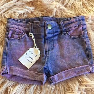 Hand dyed Denim five pocket shorts for baby size 0